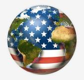 Framför den världsomspännande globala planeten 3d för USA flaggan Beståndsdelar av denna ima Arkivbild