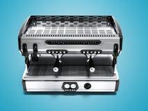Framför den yrkesmässiga kaffemaskinen för modern metall för fyra koppar främre sikt 3d på blå bakgrund med skugga vektor illustrationer