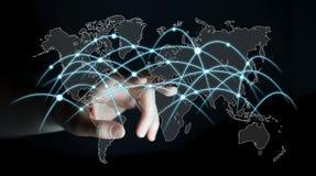 Framför det rörande globala nätverket för affärsmannen och datautbyten 3D Royaltyfri Fotografi