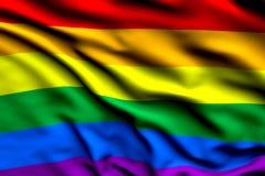 Framför flaggan för glad stolthet för regnbågen som är tredimensionell, satängtextur Arkivbild