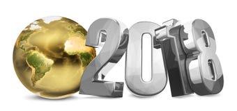 framför global jord guld- 3d för värld 2018 Royaltyfri Fotografi