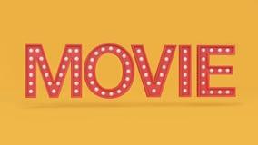 Framför gul bakgrund 3d för röda typ-text för filmen 3d bokstäver filmen, bion, underhållningbegrepp royaltyfri illustrationer