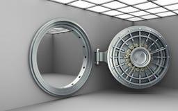 Framför hög upplösning 3d för stor öppen säker dörrbakgrund Arkivfoton