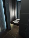 framför inre moderna 3d toaletten Royaltyfri Fotografi