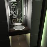 framför inre moderna 3d toaletten Arkivbild
