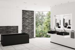 framför inre moderna för badrum 3d Arkivbilder
