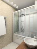 framför inre moderna för badrum 3d Arkivfoto