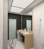 framför inre moderna för badrum 3d Royaltyfri Foto