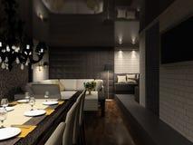 framför inre moderna för cafe 3d stock illustrationer