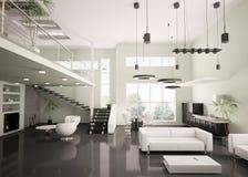 framför inre moderna för lägenhet 3d Royaltyfri Bild