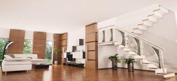 framför inre moderna för lägenhet 3d royaltyfri illustrationer