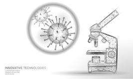 Framför låga poly för mikroskopvirus 3D Influensa för influensa för virus för hepatit för kronisk sjukdom för laboratoriumanalysi royaltyfri illustrationer