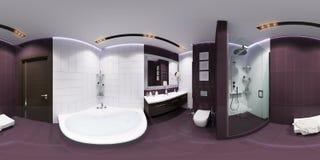 Framför sfärisk panorama 360 av badruminre Arkivbild