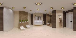 Framför sfärisk panorama 360 av badruminre Arkivbilder
