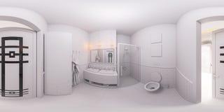 Framför sfärisk panorama 360 av ett badrum Fotografering för Bildbyråer