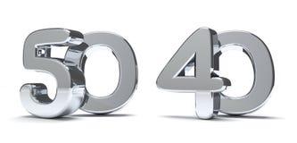 50 40 framför silver 3d Royaltyfria Foton