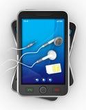 framför svarta hörlurar 3d smartphones Arkivfoto
