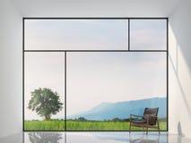 Framför tomt rum för minsta stil med natursikten 3d Royaltyfri Bild