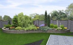 Framför trädgårds-bakgrund för den främre gården, 3d Royaltyfria Foton