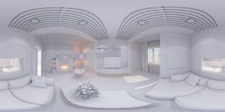 360 framför vardagsrum för panoramainredesignen Arkivfoton