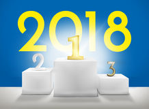Framför vinnarepodiet 2018 1st 2nd 3rd 3D Fotografering för Bildbyråer