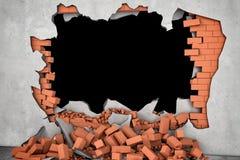Framföra den brutna väggen med det svarta hålet och högen av rostiga röda tegelstenar beneath Royaltyfri Foto