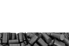 Framföra den stora högen av svarta olje- trummor som isoleras på vit bakgrund Arkivfoton