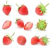 Framföra en uppsättning, samling av nya jordgubbefrukter som isoleras på vit bakgrund Royaltyfria Bilder