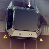 framförande av väggen för hög tech med metallkvarteret för logo och olika detaljer Science fictionbakgrund Futuristisk form Pos.  Royaltyfria Foton