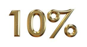 framförande 3d Guld- procentsatser på en vit bakgrund Arkivfoton