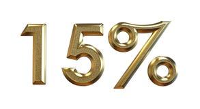 framförande 3d Guld- procentsatser på en vit bakgrund Royaltyfri Bild