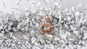 framförande 3d Guld- symbol av bitcoin Royaltyfria Foton