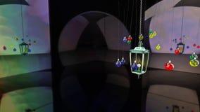 framförande 3d Jullampa och bollar Arkivbild