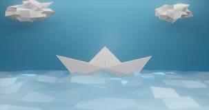 framförande 3d Pappers- fartyg som göras av ljust papper på bakgrunden av detpoly havet och moln av ljust - blå färg Abstrakt beg stock illustrationer