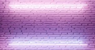 framförande 3d Tegelstenvägg exponerad av en rosa neonlampa abstrakt bakgrund Ljus effekt på den stickande fram yttersidan royaltyfri illustrationer