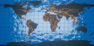 framförande 3d Världskarta av planetjorden Mödrar och länder i den glödande guld- konturen Mot bakgrunden av blått royaltyfri illustrationer