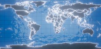 framförande 3d Världskarta av planetjorden Matermki och länder i den glödande neonströmkretsen Mot bakgrunden av blått royaltyfri illustrationer