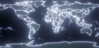 framförande 3d Världskarta av planetjorden Matermki och länder i den glödande neonströmkretsen På en mörk bakgrund stock illustrationer