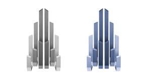 framförd 3d, abstrakt byggnadslogo, främre sikt stock illustrationer