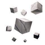 framförd 3D, knäckte konkreta kuber, på vit bakgrund Arkivbild