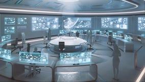 framförd 3D, modern futuristisk inre för kommandomitt med folk Royaltyfri Bild