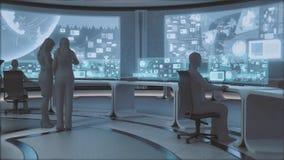 framförd 3D, modern futuristisk inre för kommandomitt med folk Arkivbilder