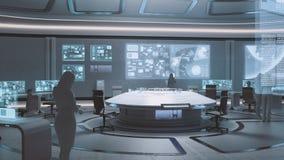framförd 3D, modern futuristisk inre för kommandomitt med folk Arkivbild