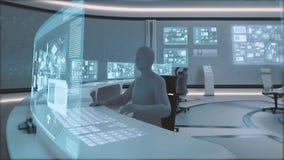 framförd 3D, modern futuristisk inre för kommandomitt med folk Arkivfoton