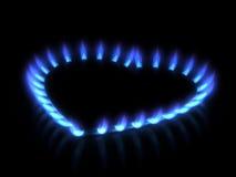 Ugn. Gas flammar Arkivfoto