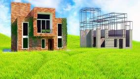 framförd husbild för begrepp 3d Arkivfoto