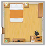 framförd inre blixt för omgivande sovrum 3d royaltyfri illustrationer