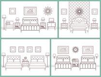 framförd inre blixt för omgivande sovrum 3d Hotellrum i retro design Vektor Illustratio royaltyfri illustrationer
