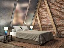 framförd inre blixt för omgivande sovrum 3d illustration 3d Arkivfoto