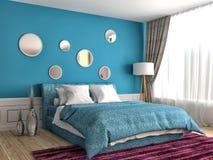 framförd inre blixt för omgivande sovrum 3d illustration 3d Royaltyfria Foton